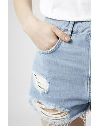 TOPSHOP | Blue Moto Bleach Ripped Mom Shorts | Lyst