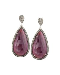 Bavna | Metallic Silver Ruby & Diamond Double-drop Earrings | Lyst