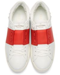 Valentino - White & Red Striped Low-top Sneakers - Lyst
