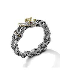 John Hardy | Metallic Dragon Head Bracelet On Large Braided Chain | Lyst