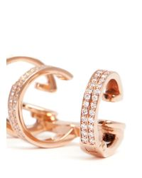 Repossi | Pink 'berbère' Diamond Rose Gold 3-hoop Ear Cuff | Lyst