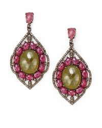 Bavna | Pink Diamond, Sapphire & Sterling Silver Earrings | Lyst