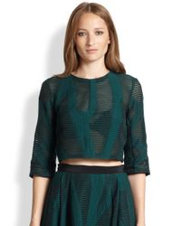 Tibi - Green Abstract-Patterned Sheer Burnout Cropped Top - Lyst