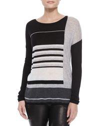 Vince - Black Mixed-stripe Knit Sweater - Lyst
