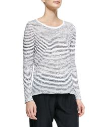 ATM - White Long-sleeve Striped Tee - Lyst