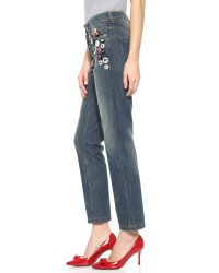 RED Valentino   Blue Stonewashed Heavy Skinny Jeans - Denim   Lyst