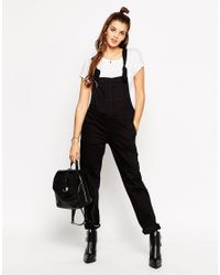 ASOS | Denim Dungaree With Tie Straps In Black | Lyst