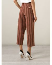 Stella Jean | Brown Striped Cropped Trousers | Lyst