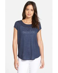 Nordstrom Collection | Blue Cap Sleeve Linen Tee | Lyst