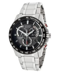 Citizen - Metallic Men'S Chronograph Black Dial Stainless Steel - Lyst