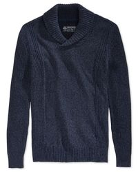 American Rag | Blue Tri-tone Shawl-collar Sweater for Men | Lyst