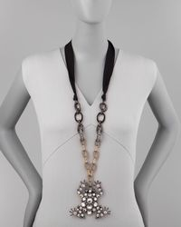 Lanvin - Black Crystal Frog Pendant Necklace On Ribbon - Lyst