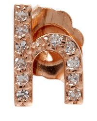 KC Designs - Pink Rose Gold Diamond H Single Stud Earring - Lyst