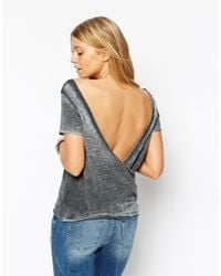 ASOS | Gray T-shirt With Wrap Back In Loose Fabric | Lyst
