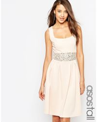 ASOS   Debutante Embellished Trim Full Midi Dress - Blue   Lyst