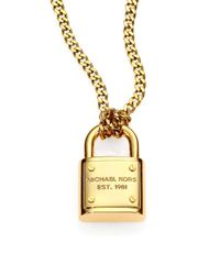 Michael Kors - Metallic Logo Padlock Chain Link Necklace - Lyst