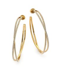 Michael Kors | Metallic Brilliance Statement Pavé Goldtone Crisscross Hoop Earrings/1.75 | Lyst