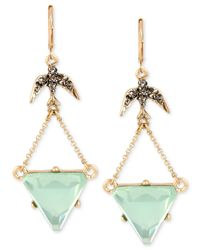 Betsey Johnson | Metallic Gold-tone Bird And Crystal Drop Earrings | Lyst