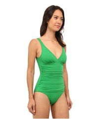 Tommy Bahama | Green Pearl V-neck Surplice One-piece | Lyst