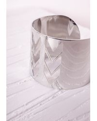Missguided - Metallic Chevron Cut Out Cuff Silver - Lyst
