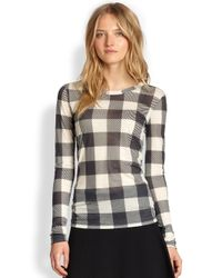 Rag & Bone - Black Plaid Long-Sleeve Tee - Lyst