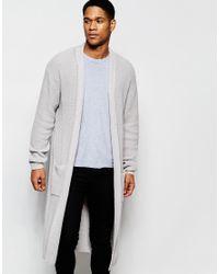 Asos Super Longline Cardigan in Gray for Men | Lyst