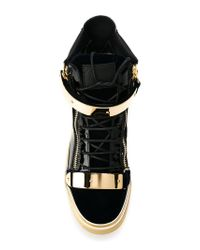 Giuseppe Zanotti - Blue Paneled High-Top Sneakers for Men - Lyst