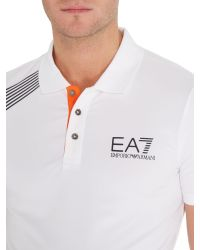 EA7 | White Logo Polo Regular Fit Polo Shirt for Men | Lyst