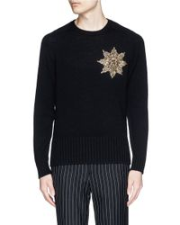 Alexander McQueen | Black Glass Crystal Medallion Wool Sweater for Men | Lyst
