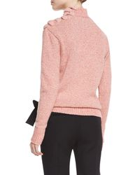 Victoria Beckham - Red Melange Knit Lace-up Shoulder Sweater - Lyst