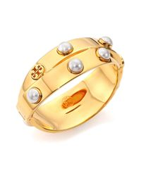 Tory Burch | Metallic Pearl & Metal Double Wrap Bracelet/goldtone | Lyst