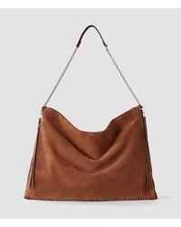 AllSaints - Brown Fleur De Lis Chain Shoulder Hobo - Lyst