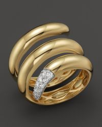 Roberto Coin - Metallic 18k Yellow Gold Snake Ring With Diamonds, .60 Ct. T.w. - Lyst