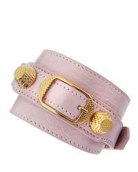 Balenciaga | Purple Giant 12 Yellow Golden Leather Wrap Bracelet | Lyst