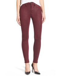 7 For All Mankind | Red Snakeskin-Embossed Faux-Leather Pants | Lyst