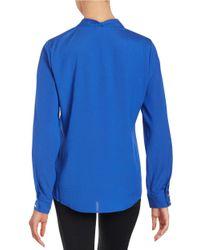 Calvin Klein | Blue Tie-neck Blouse | Lyst
