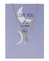 Lydell NYC - Metallic Crystal Half-moon Pendant Necklace W/ Statement Card - Lyst
