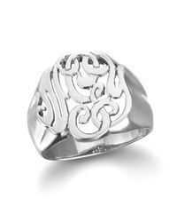 Ginette NY | Metallic Lace Monogram Ring, White Gold | Lyst