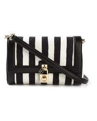 Dolce & Gabbana - Black Dolce Striped Leather Shoulder Bag - Lyst