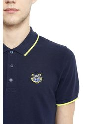 KENZO | Blue Cotton Piqué Polo With Contrasting Trim for Men | Lyst