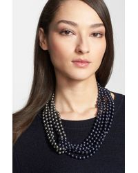 St. John | Two-tone Faux Pearl Multistrand Necklace - Ruthinium/ Blue/ Grey Pearl | Lyst