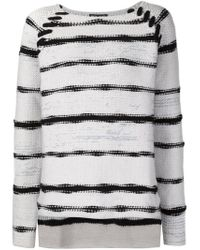 Baja East - White Striped Loose Fit Sweater - Lyst