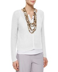 Eileen Fisher - White Organic Linen Snap-front Jacket - Lyst