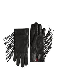 Valentino | Black Fringed Nappa Leather Gloves | Lyst