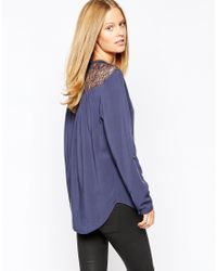 Esprit | Blue Lace Insert Blouse | Lyst