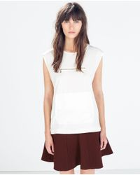 Zara | White Tulle Piped T-shirt | Lyst