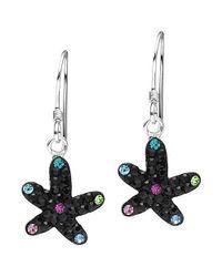 Aeravida | Star In The Sea Black Crystal Encrusted Sterling Silver Earrings | Lyst