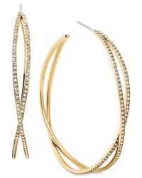 Michael Kors | Metallic Crystal Pavé Criss-Cross Hoop Earrings | Lyst