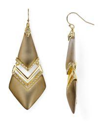 Alexis Bittar - Gray Lucite Encrusted Chevron Swinging Wire Earrings - Lyst