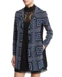 Nanette Lepore - Blue Notch-collar Patchwork Jacket - Lyst